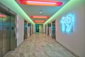 WeWork 400 Spectrum elevator lobby